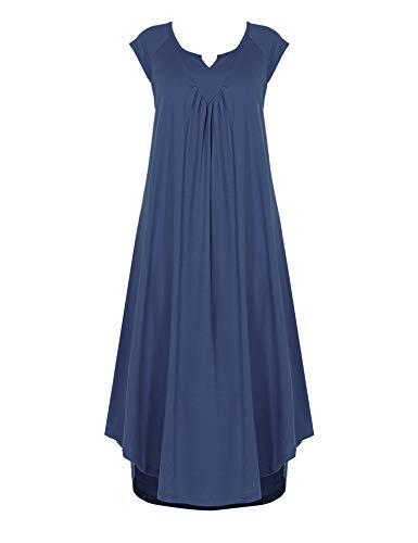 Ekouaer Sleepwear Womens Cotton V Neck Nightdress Sleeveless Long Nightgown with Eye Mask]()