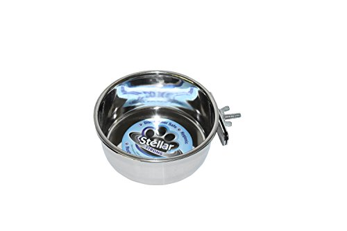 Stellar Bowls Coop Cup with Clamp Holder for Birds, 5 (Stainless Steel Bird Coop Cup)