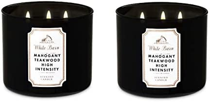 Bath /& Body Works Mahogany Teakwood High Intensity White Barn Candle
