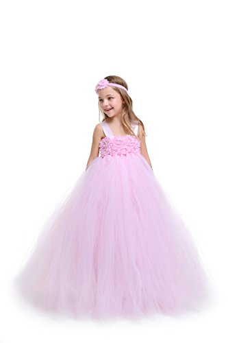 MALIBULICo Baby Girls' Lt. Pink Fluffy Flower Girl Tutu Dress for Wedding and Birthday Photoshoot