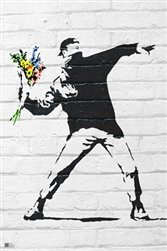 "Flower Bomber by Banksy  24""x36"" Art Print Poster"