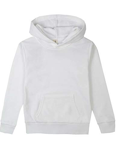 (Spring&Gege Youth Solid Pullover Sport Hoodies Soft Kids Hooded Sweatshirts for Boys and Girls Size 9-10 Years White)