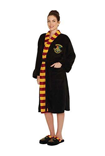 Official Ladies Harry Potter Hogwarts Crest Adult Black Dressing Gown Bathrobe