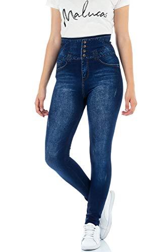 f3c05b7499fe0e Malucas Sports Damen Leggings mit Hohem Bund in Jeans-Look 00510:  Amazon.de: Bekleidung
