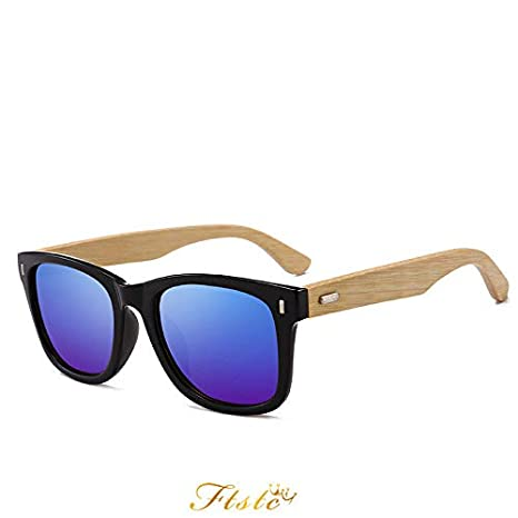 9a33a8beaf Image Unavailable. EVSTA  Polarized Bamboo Sunglasses Mens Womens Vintage  Mirrored ...