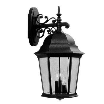 Livex Lighting 7565-04 Hamilton - Three Light Exterior Lantern, Black Finish with Clear Beveled Glass