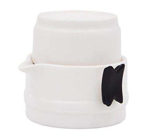 Vegali Portable Gongfu Tea Set -100% Handmade Chinese / Japanese Vintage Gongfu Teaset - Porcelain Teapot & Teacups (White)
