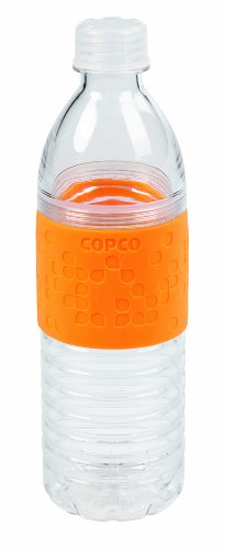 Copco 2510-2183 Hydra Reusable Tritan Water Bottle with Spill Resistant Lid and Non-Slip Sleeve, Chevron Orange