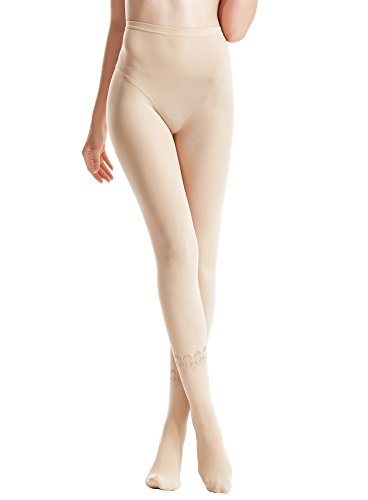 Zeraca Women's 80 D Sheer to Waist Pattern Footed Opaque Tights 1 Pack (S/M, 26 Flesh) ()