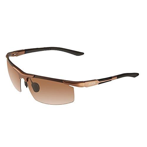 JOJEN Mens Polarized Sports Sunglasses for Men Al-Mg Metal Ultra Light Semi Rimless Frame JE0018