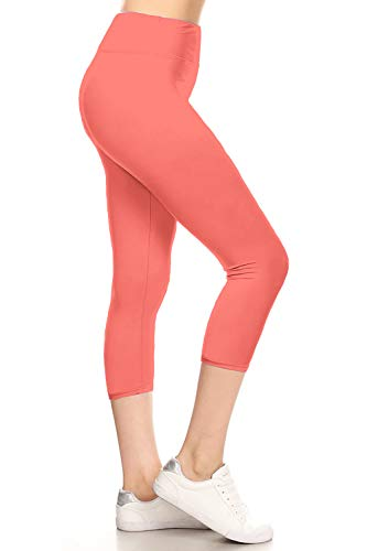 (LYCPR128-Coral Yoga Capri Solid Leggings, One Size)