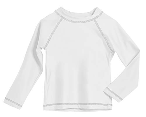 - Baby Boys' and Girls' Solid Rashguard Swimming Tee Shirt Rash Guard SPF Sun Protection for Summer Beach Pool and Play, L/S White, 18-24 mon.