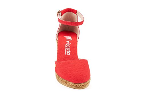 3 Comfort Toe Elegant Ankle VISCATA Estartit Spain with Made in red inch Strap Closed Canvas Heel Espadrilles v0wFEEfq