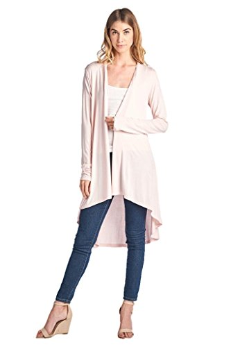 ReneeC. Women's Extra Soft Natural Bamboo Long Open Front Cardigan - Made in USA (Large, Pink)