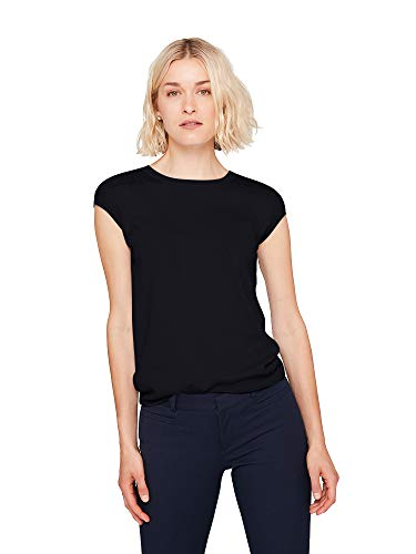 State Cashmere Women's Crew-Neck Knitted Pattern Cotton Cashmere Short Sleeve T-Shirt Black