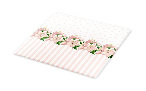 - Lunarable Dusty Rose Cutting Board, Vintage Retro Design with Polka Dots and Stripes Spring Flora Border, Decorative Tempered Glass Cutting and Serving Board, Large Size, Baby Pink Fern Green
