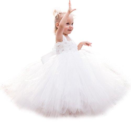 MALIBULICo Fluffy Flower Girl Tutu Dress With Matching Headband For Weddings and Peagant,Off-White,5