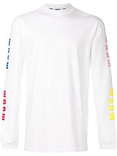 MSGM Men's 2440Mm10318429901 White Cotton Sweatshirt by MSGM