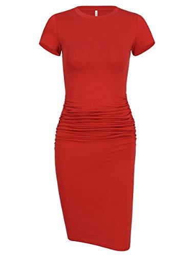 Laughido Women's Ruched Casual Plain Sundress Short Sleeve Knee Length Sheath Bodycon T Shirt Dress Rust