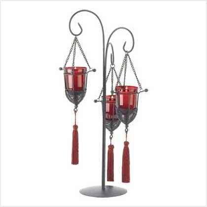 Candle Holders: Hanging Garnet Red Tassel Votive