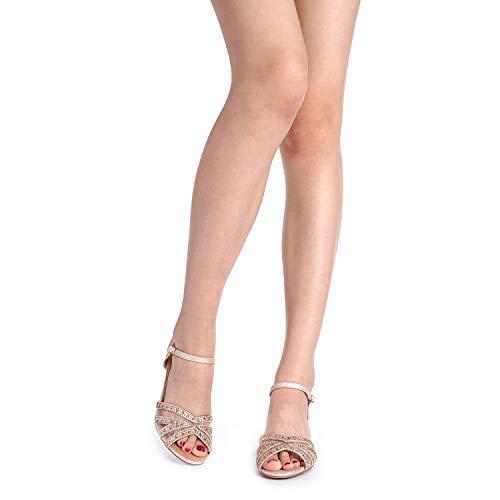80ddecbf3de DREAM PAIRS Women s Nina-150 Gold Low Heel Pump Sandals - 5 M US ...