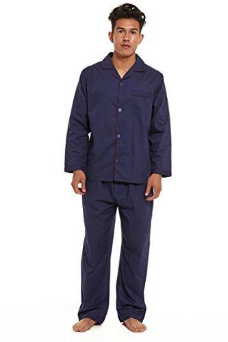 Pijama para hombre, estilo tradicional clásico, color liso azul azul marino