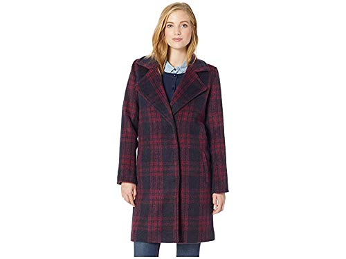 cupcakes and cashmere Women's Aldean Brushed Plaid Drape Front Coat, red Velvet, Small