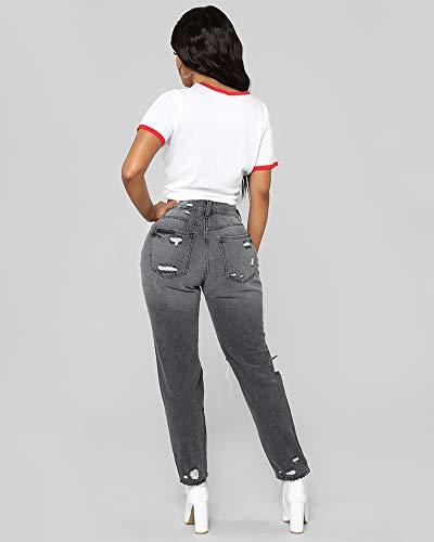 In Jeans Denim Zhuikuna Vita Scuro Strappati Grigio Skinny Pantaloni A Donna Lunghi CUxqfw0x1