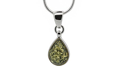 (Sterling Silver Drop Pendant Necklace with Green Genuine Baltic Amber. Chain Included)