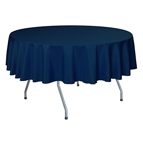 Ultimate Textile 60-Inch Round Polyester Linen Tablecloth Royal Blue (Blue Round Tablecloth Linen)