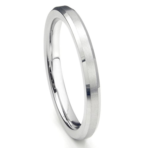3MM Sterling Silver Brush Finish Beveled Tarnish Resistant Comfort Fit Wedding Band Ring Sz 7