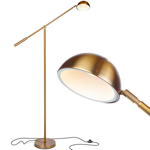 Brightech Gabriel - LED Reading and Craft Floor Lamp, for Living Rooms, Bedrooms & Offices - Classy, Modern Standing Light for Tasks- Adjustable Arm, Omnidirectional Head - Antique Brass (Boom Arm Floor Lamp)
