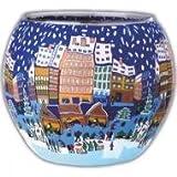Kerzenfarm Christmas Fair 21626 Glowing Glass Tealight-Holder, Multi-Colour
