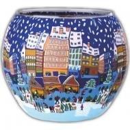 Kerzenfarm Christmas Fair 21626 Glowing Glass Tealight-Holder, Multi-Colour by Kerzenfarm