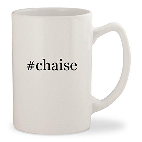 #chaise - White Hashtag 14oz Ceramic Statesman Coffee Mug Cup (Sofa Sleeper Sunbrella)