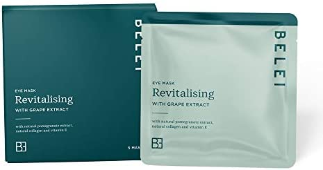 Amazon Brand - Belei - Revitalising Eye Mask with Grape Extract, Pack of 5