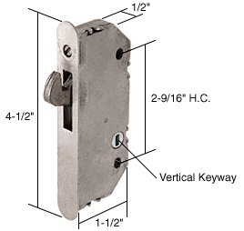 CRL 1/2'' Wide Mortise Lock With 2-9/16'' Screw Holes With Vertical Keyway by CR Laurence