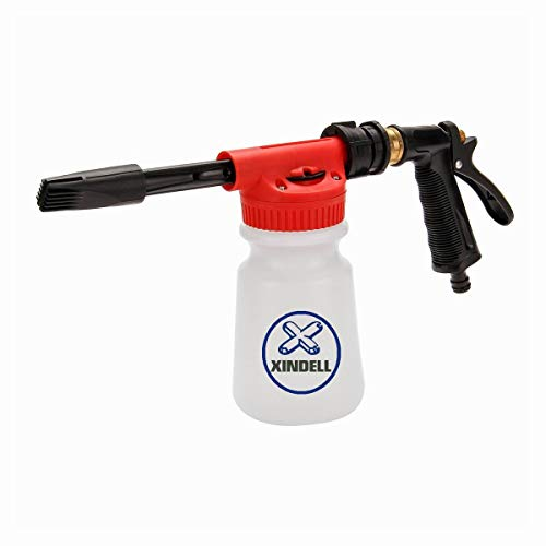 Car Wash Foam Gun, Adjustable Hose Wash Sprayer with Adjustment Ratio Dial Foam Blaster Fit Car Motorcycle Garden Hose Cleaning and Home Use 0.23 Gallon Car Wash Equipment Leak Free Connector