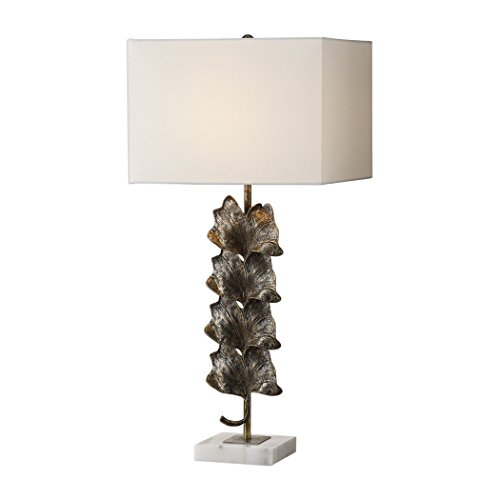 Modern Gold Bronze Metallic Leaf Table Lamp | Ginkgo Stacked Column Organic - Ginkgo Accent Lamp