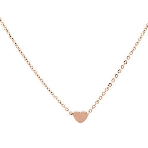 Jude Jewelers Stainless Steel Sliding Float Heart Shaped Charm Necklace (Single Heart-Rose Gold)