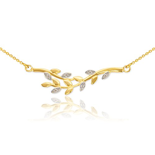 Yellow Gold Olive (Polished 14k Yellow Gold Double Olive Branch Pendant Necklace with Natural Diamonds,)