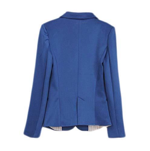 Donna Button Giubotto Autunno Bavero Blau Confortevole Lunga Outwear Tailleur Leisure Tasche Giacca Marca Di Manica Anteriori Suit Da Mode Baggy Bolawoo Monocromo 8dSqA8w