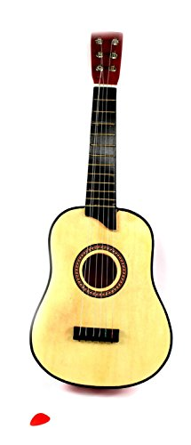 VT High Gloss Beginner Children's Kid's Classic Full Wood Acoustic Toy Guitar Musical Instrument w/ Adjustable Strings (Natural)