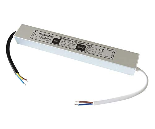 AspenTek 12v DC Waterproof Led Power Supply Driver Transformer, Aluminum Alloy Shell(30 watts) 30 Mm Driver Unit