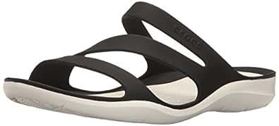 crocs Women's Swiftwater W Flat Sandal, Black/White, 10 M US