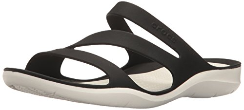 Crocs Women's Swiftwater Sandal, Black/White, 11 M US (Wholesale Sandals Fashion Women)