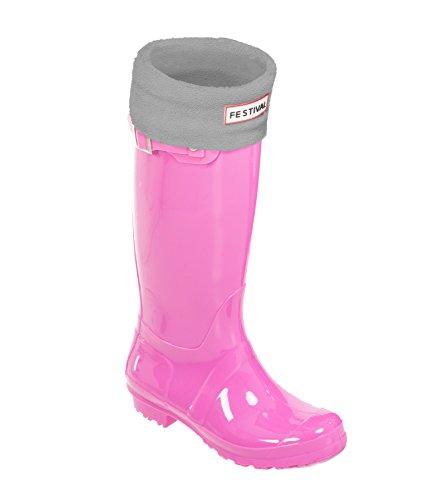 UK Winter Liner 9 EU 43 Wellies Wellington Original Pink Sizes Warm Grey Pink Festival Rain Sock 3 Tall 36 Boots Ladies pOfnqI