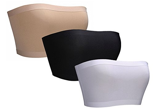 BRABIC Women's Bandeau Bras Tube Top Stretchy Strapless Seamless Pack of 3 (One Size, BlackWhiteBeige)