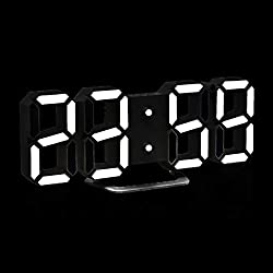 OCEST 3D Digital Desk/Wall Clock+Charging Plugs (UL Listed), Large LED Number Display Decorative Alarm Clock with Time Date Temperature Snooze Nightlight for Hotel Office Home Living Room (White)