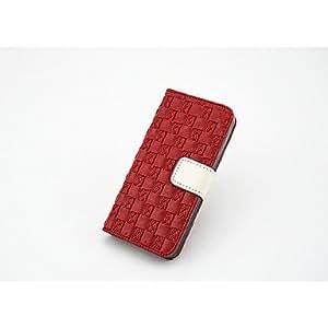 WQQ Funda de Cuerpo Entero/Funda Tipo Cartera - Cuadrícula/Diseño Especial - para iPhone 5S ( Rojo/Multicolor , Cuero Sintético ) , Drak Red